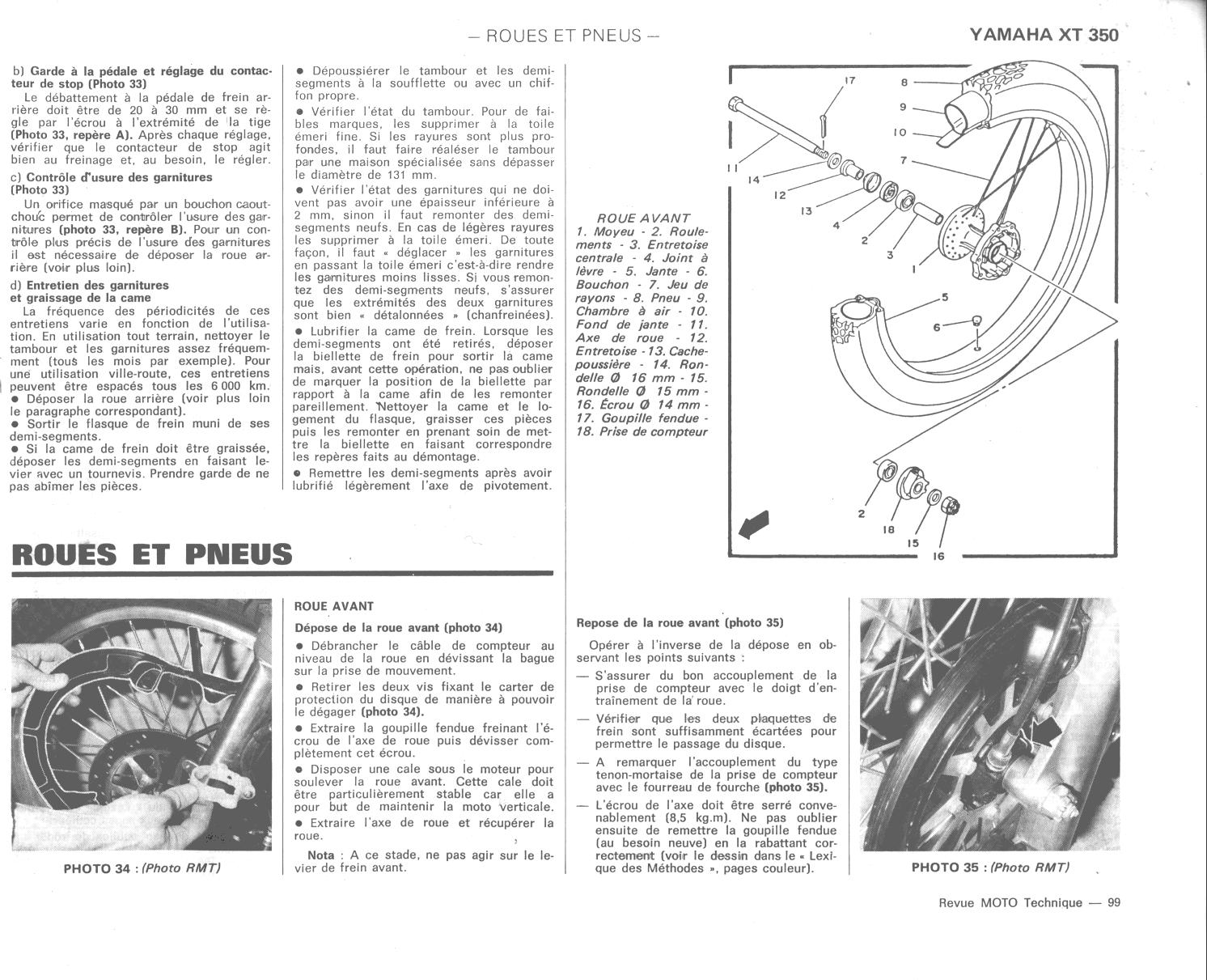 documentation technique yamaha xt  tt 350