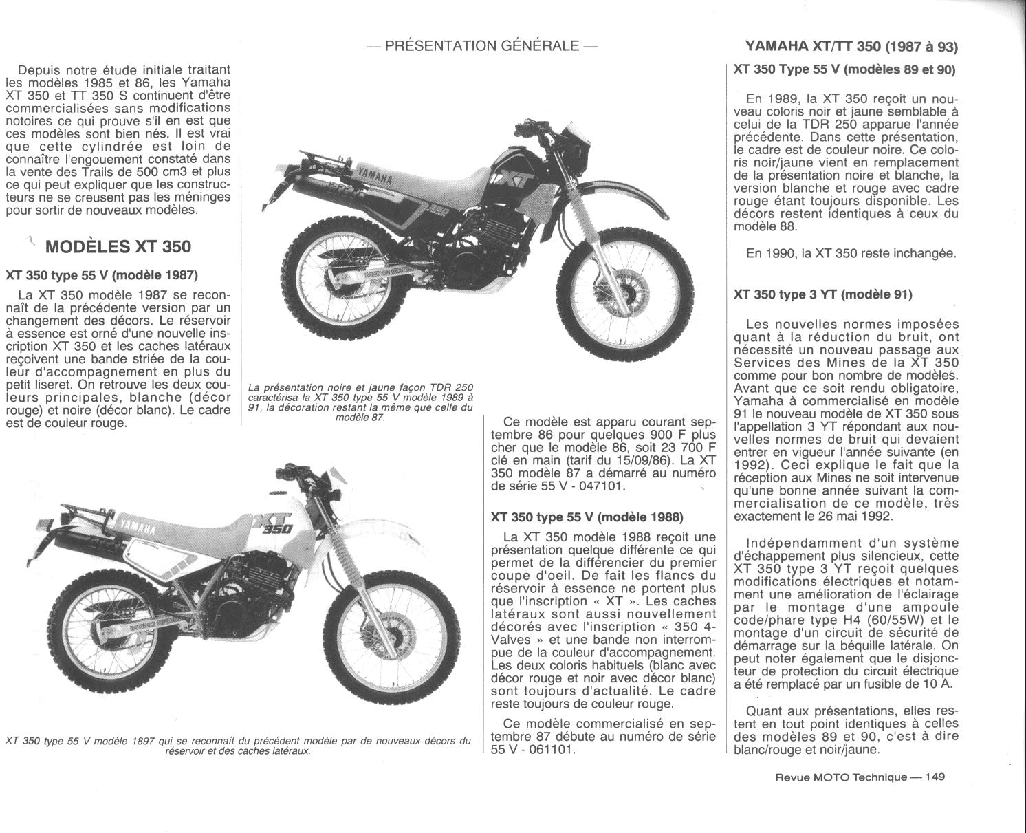 evolution technique des xt et tt 350